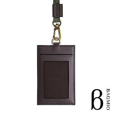 BAGMIO authentic 人字紋牛皮3卡直式證件套 可可棕 附織帶