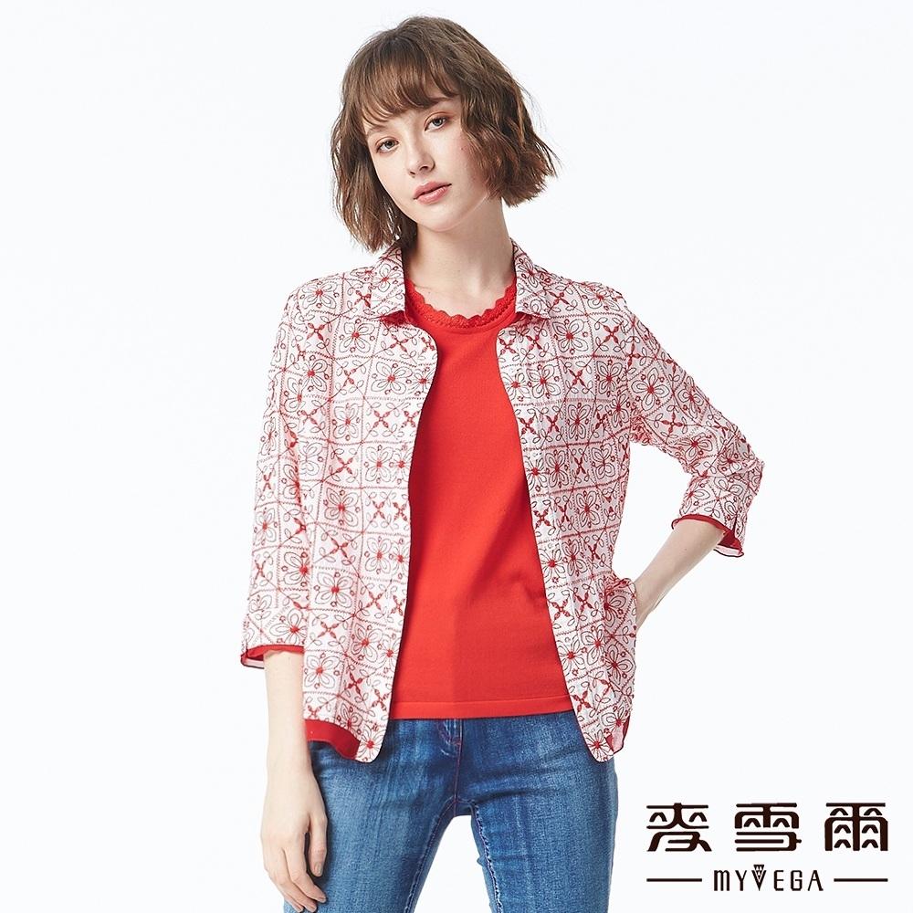 麥雪爾 異國風立體刺繡襯衫-紅