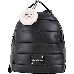 LOVE MOSCHINO 愛斯基摩女孩米其林絎縫皮革後背包(黑色)