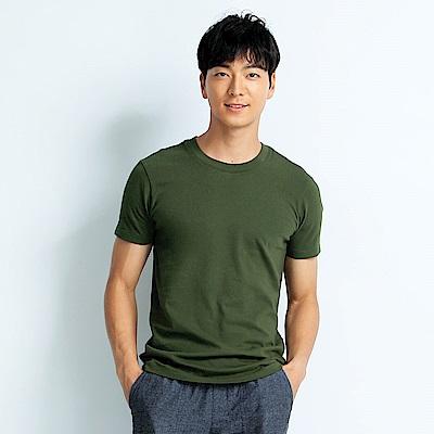 101原創 經典水洗原色圓領素T恤-男女適穿-軍綠