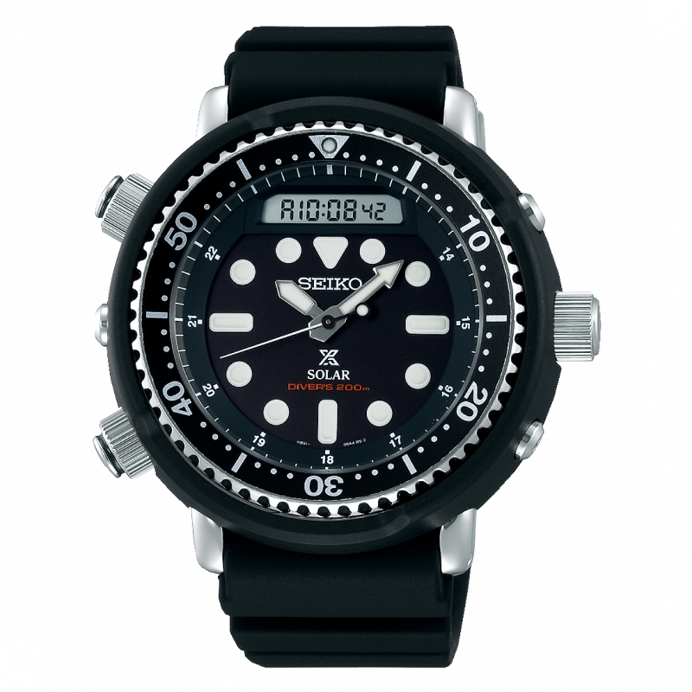 SEIKO PROSPEX雙顯復刻款太陽能潛水腕錶H851-00A0D/SNJ025P1