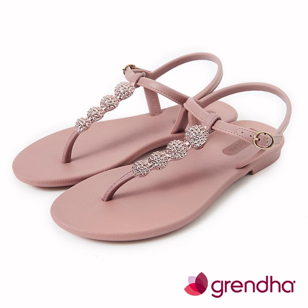 Grendha 金屬球珠T字帶涼鞋-灰玫/玫瑰金