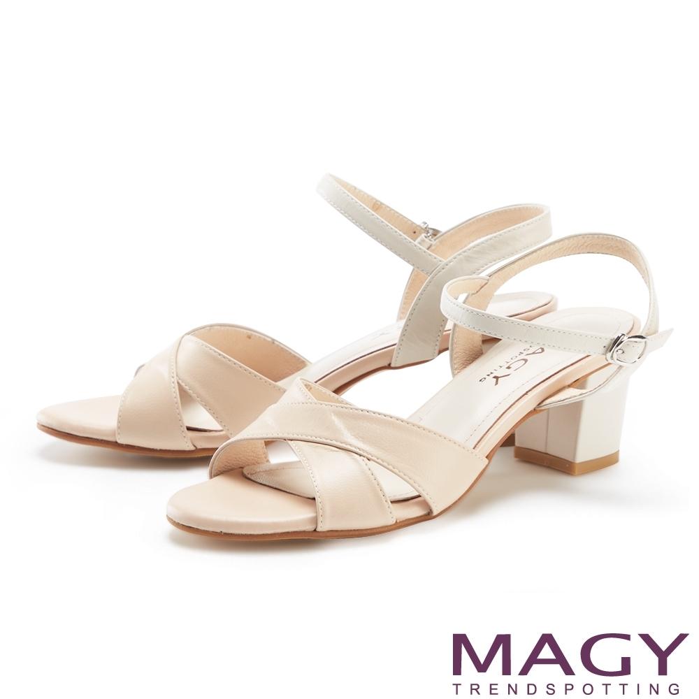 MAGY 造型交叉羊皮舒適粗跟 女 涼鞋 杏色