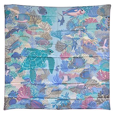 HERMES 經典Under The Waves系列海底世界圖騰絲質方巾/披巾(薄荷綠)