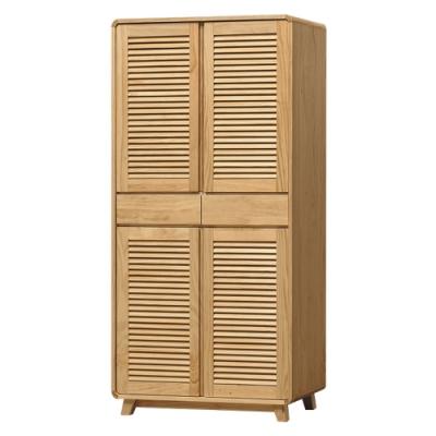 綠活居 普菲納現代風2.6尺實木四門高鞋櫃/收納櫃-79x37x180cm免組