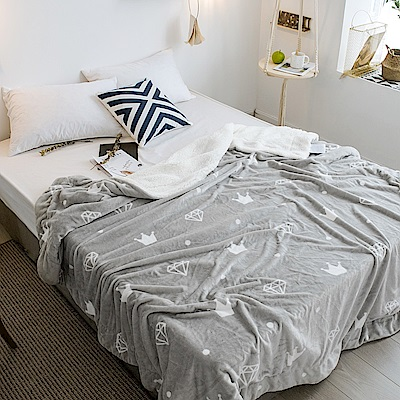 BUNNY LIFE 小皇冠-極柔牛奶絨羊羔絨雙層保暖毯