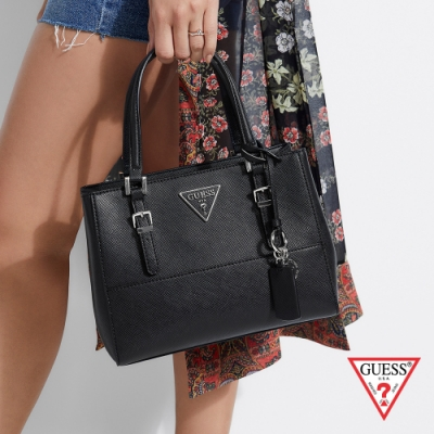 GUESS-女包-斜紋倒三角LOGO鍊條手提包-黑