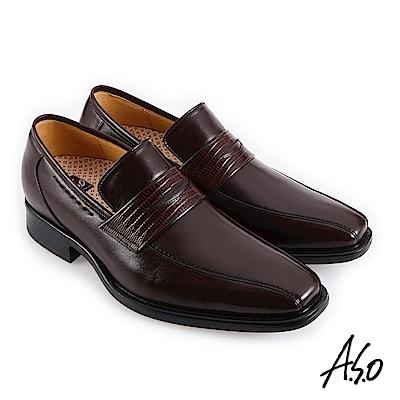 A.S.O職場通勤 零壓挺力蜥蜴紋樂福紳士鞋-咖啡