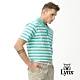 【Lynx Golf】男款吸汗速乾絲光網布條紋短袖POLO衫-藍綠色 product thumbnail 2