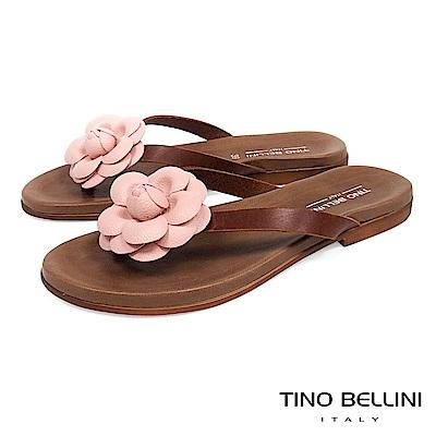 Tino Bellini 義大利進口立體花妍平底夾腳涼拖鞋 _ 粉