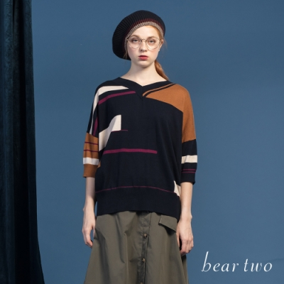 beartwo - V領撞色線條針織上衣 - 藍