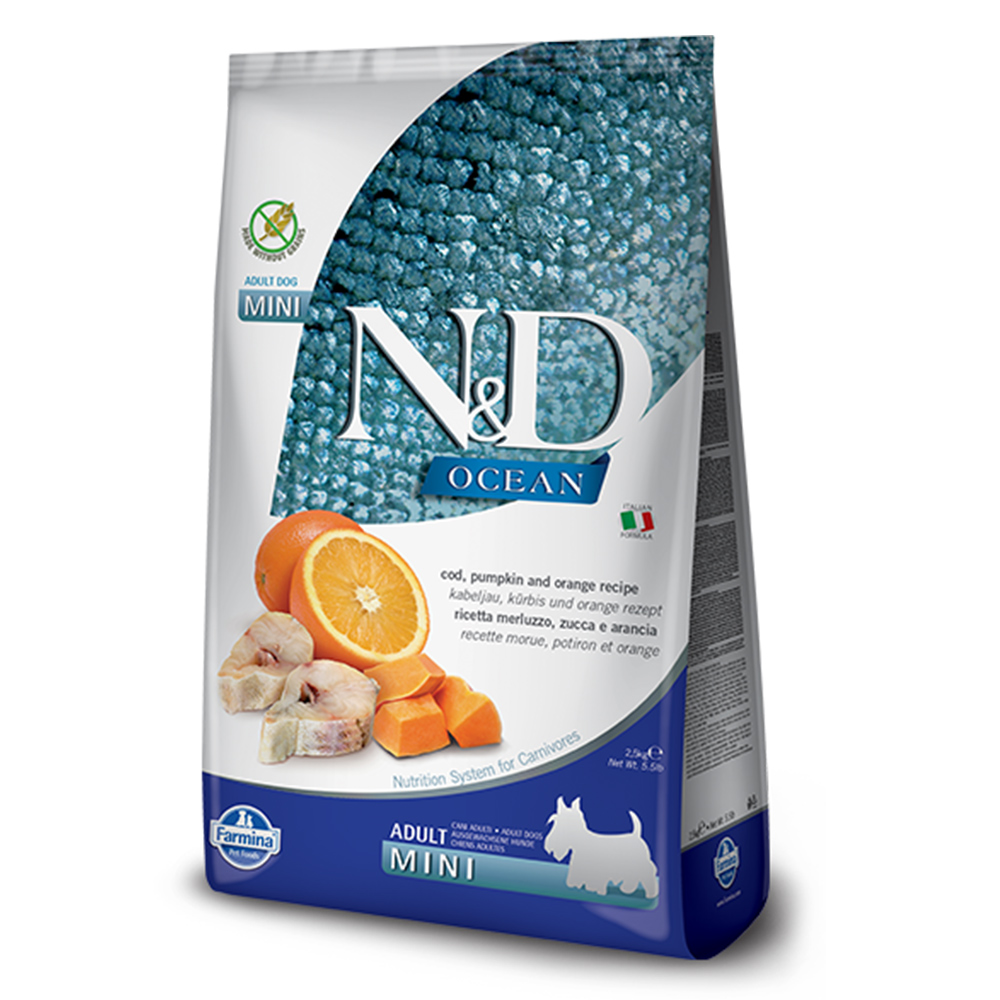 Farmina法米納 海洋南瓜無穀全齡犬糧-鱈魚甜橙-小顆粒(OD-02)2.5kg