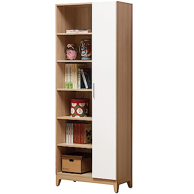 文創集 杜希特時尚2.7尺單門半開放書櫃/收納櫃-80.1x31.8x194.5cm免組
