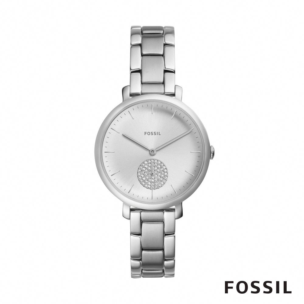 FOSSIL JACQUELINE 銀色鑲鑽不鏽鋼女錶 36mm ES4437