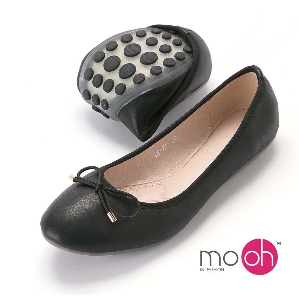 mo.oh-蝴蝶結圓頭舒適豆豆軟皮娃娃鞋-經典黑