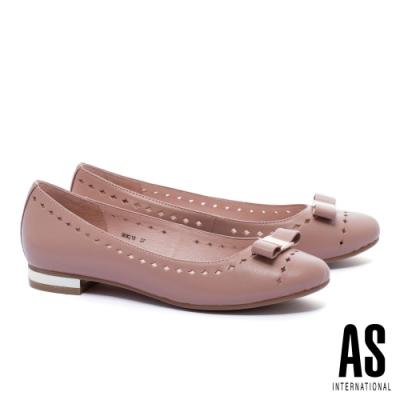 低跟鞋 AS 氣質典雅蝴蝶結全真皮低跟鞋-粉
