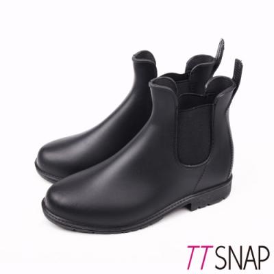 TTSNAP雨靴-圓頭細緻切爾西短筒防水靴 黑