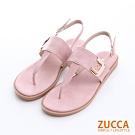 ZUCCA-皮革金屬T字夾腳涼鞋-粉-z6332pk