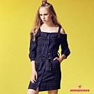 【SHOWCASE】藍格金線腰帶露肩短袖洋裝-藍