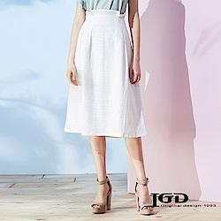 IGD英格麗 高腰反摺打摺裙-白