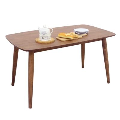 【AT HOME】日式鄉村4.6尺淺胡桃實木餐桌/工作桌/休閒桌/洽談桌/辦公桌(雲頂)