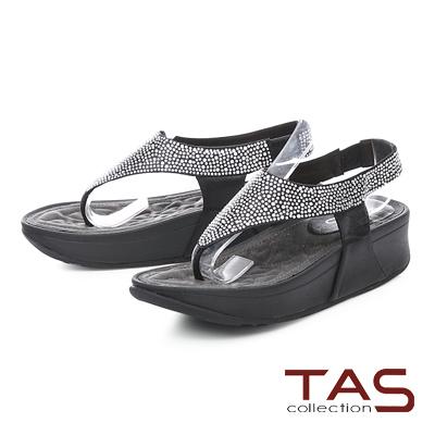 TAS水鑽寬繫帶夾腳厚底涼鞋-百搭黑