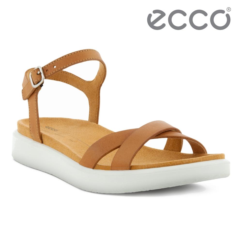ECCO YUMA 簡約造型平底休閒涼鞋 網路獨家 女鞋 棕色