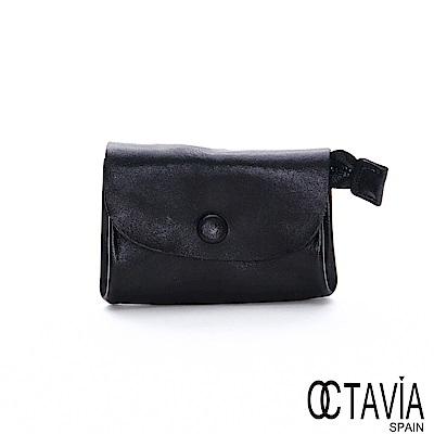 OCTAVIA8 真皮 - 喜歡你 信封式雙置物袋植染牛皮小錢包  - 扣子黑