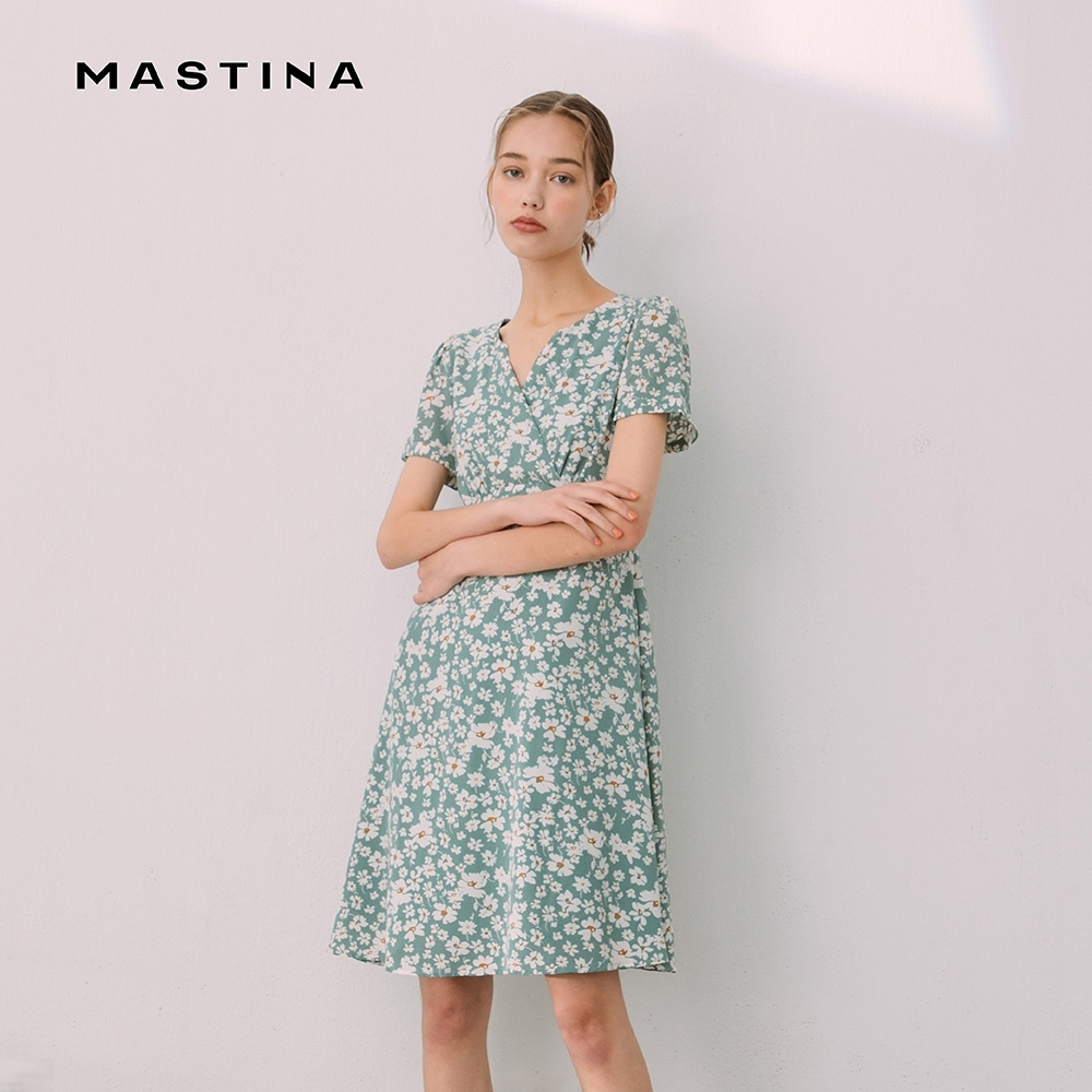 【MASTINA】修身滿版印花高腰-洋裝 (三色)