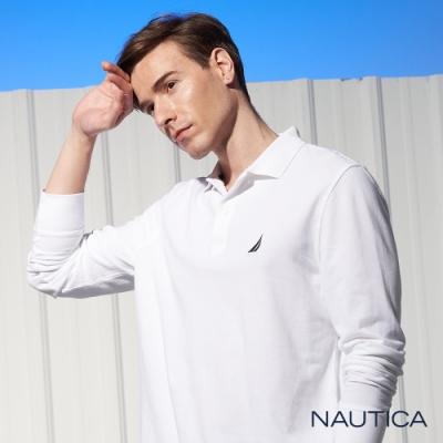 Nautica經典素面長袖POLO衫-白色