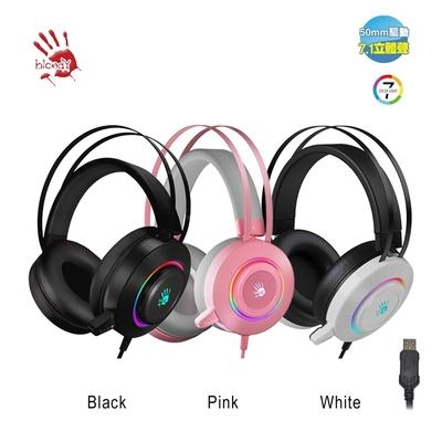 【A4 Bloody】7.1虛擬聲道霓彩電競耳麥 G521粉色/白色/黑色