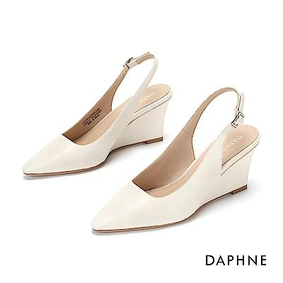 達芙妮DAPHNE 高跟鞋-美型坡跟素雅純色高跟鞋-米白