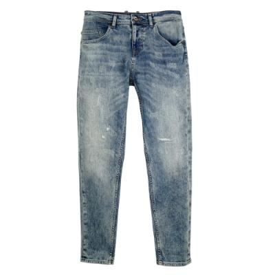 GUESS-男裝-服古水洗微刷破牛仔褲-藍