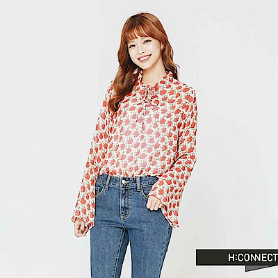 H:CONNECT 韓國品牌 女裝-繽紛印花雪紡上衣-白