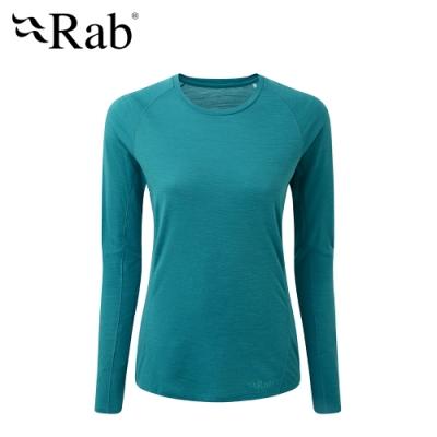 【英國 RAB】Forge LS Tee 長袖羊毛透氣排汗衣 女款 水洋藍 #QBU86