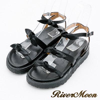 River&Moon涼鞋-優雅層次蝴蝶結厚底涼鞋-黑
