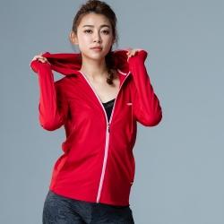 【LACHELN】女款全面防曬口罩式快乾透氣連帽針織外套-紅色(L81W506)