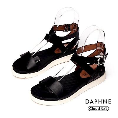 達芙妮DAPHNE 涼鞋-簡約繞踝一字帶雲軟厚底涼鞋-黑色