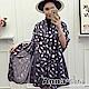 【滿額75折】AnnaSofia 羽葉銀紛 柔軟混棉披肩圍巾(灰藍系) product thumbnail 1