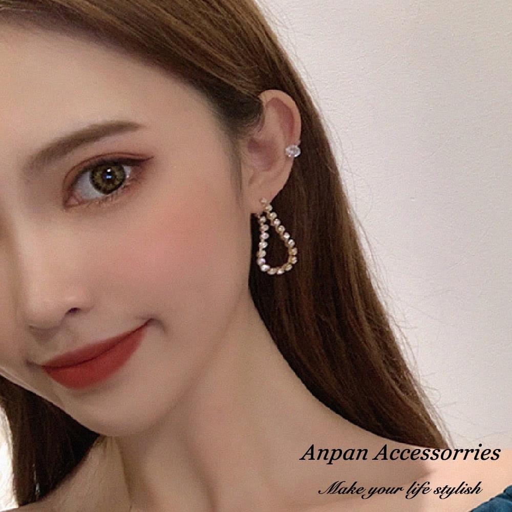 【ANPAN愛扮】韓東大門巴洛可奢華璀鑽耳針式耳環