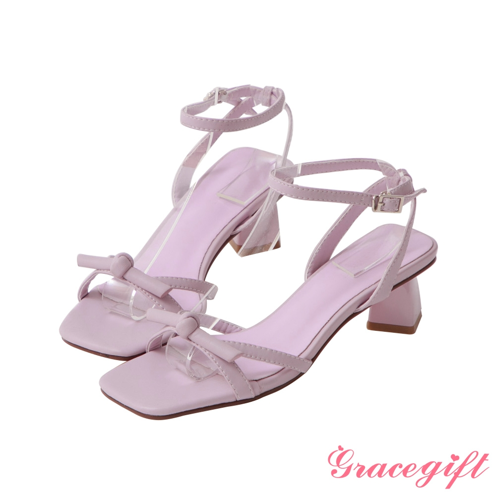 Grace gift-綁結繫踝中跟涼鞋 紫