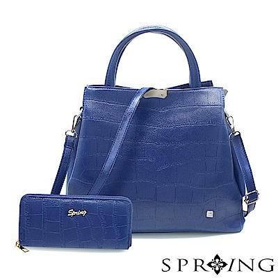 SPRING-2件組-優雅幸福鱷魚紋托特方包/長夾-星夜藍