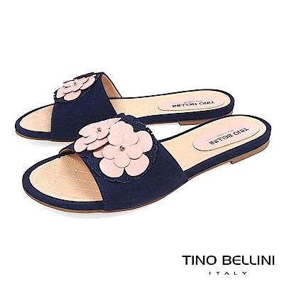 Tino Bellini 巴西進口簡約層次花朵平底涼拖鞋 _ 粉+藍