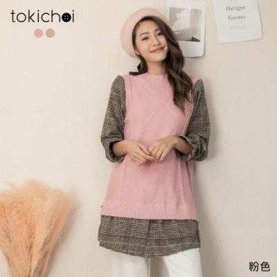 東京著衣 學院風假兩件麻花背心拼接格紋上衣洋裝(共二色)