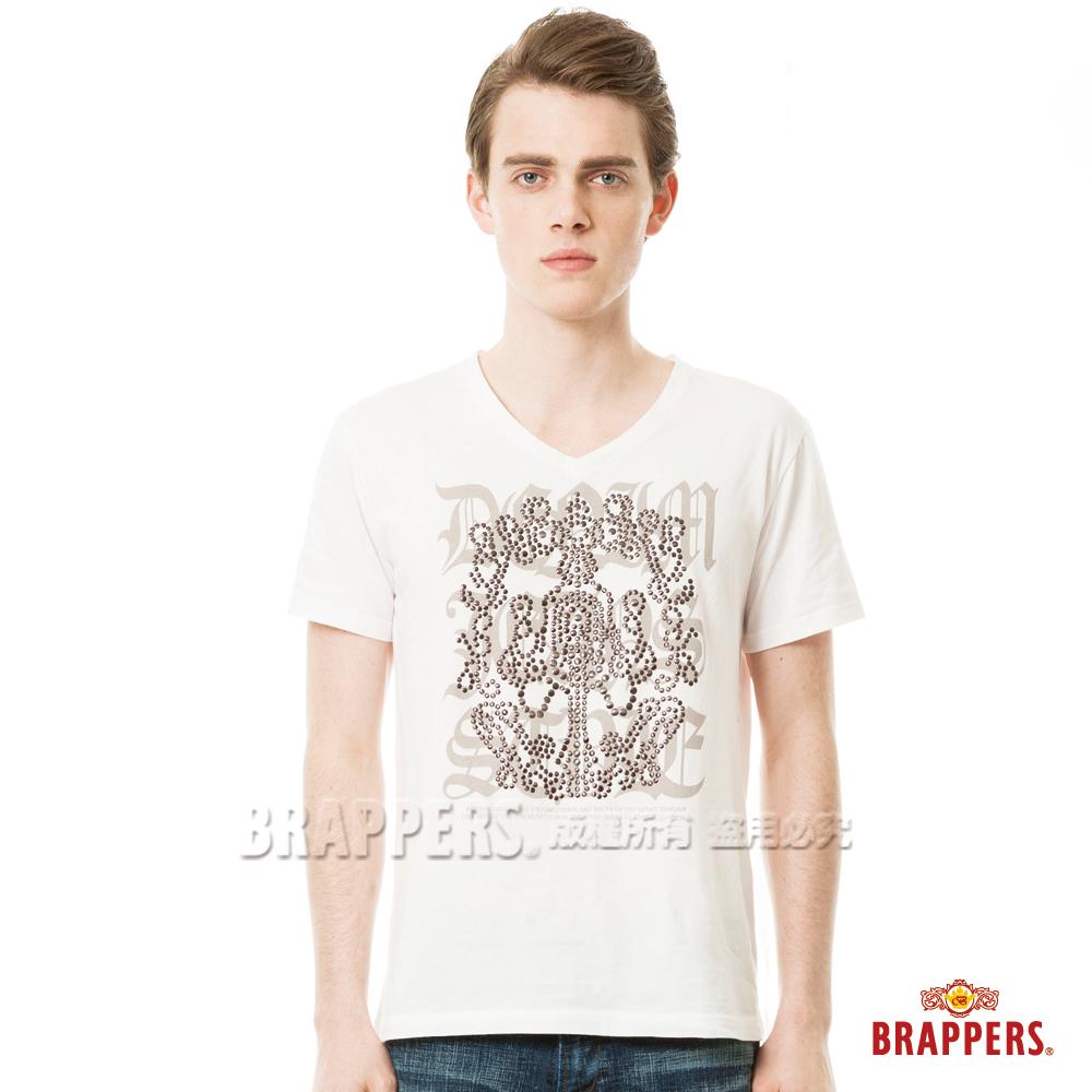 BRAPPERS 男款印花貼片短袖T恤-米白色