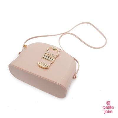 Petite Jolie-復古金屬扣飾果凍貝殼包-粉膚色