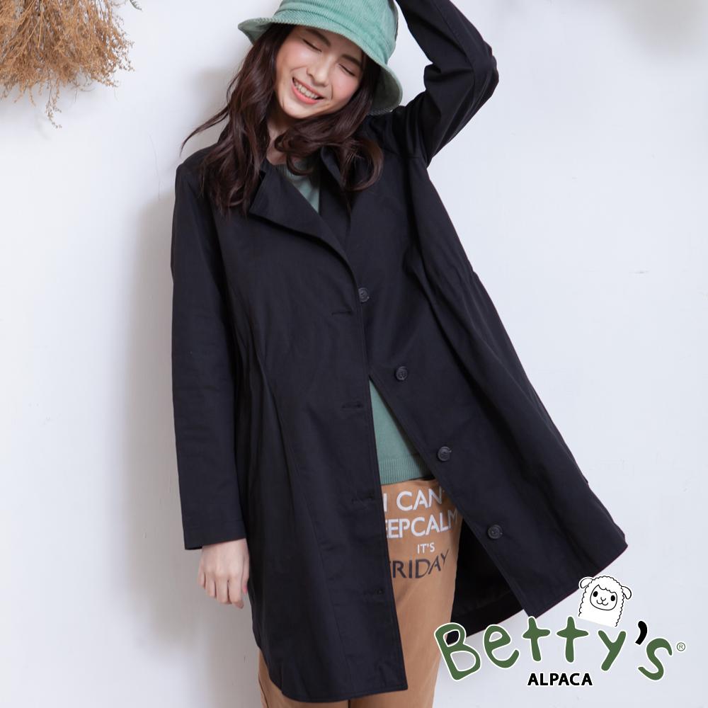 betty's貝蒂思 西裝領排釦長版大衣(黑色)