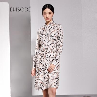 EPISODE - 知性優雅水彩印花襯衫領長袖洋裝