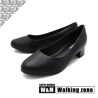 WALKING ZONE SUPER WOMAN系列 圓頭素面低跟上班鞋 女鞋- 黑(另有藍.卡其)