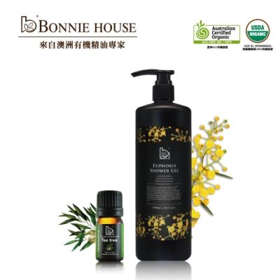 Bonnie House 幸福朝露精油沐浴膠1000ml+茶樹精油5ml
